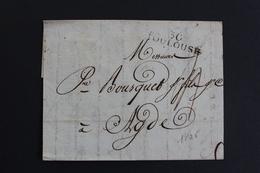 1806 LAC, TOULOUSE 30 MARQUE LINEAIRE, POUR AGDE TAXE MANUSCRITE 3 DECIMES, DATEE DU 21/03/1806.. - 1801-1848: Précurseurs XIX