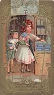 Chromo Dorée Gaufrée Biscuits Olibet - Art Nouveau - La Pluie Enfants Parapluie Cachet 1906 - Confectionery & Biscuits