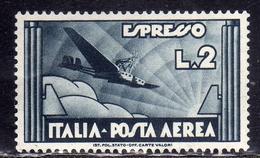 ITALIA REGNO ITALY KINGDOM 1934 POSTA AEREA ESPRESSO AEREO AIR MAIL SPECIAL DELIVERY LIRE 2 MNH BEN CENTRATO - Luchtpost