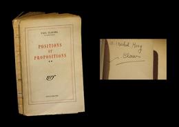 [ENVOI DEDICACE] CLAUDEL (Paul) - Positions Et Propositions. - Books, Magazines, Comics