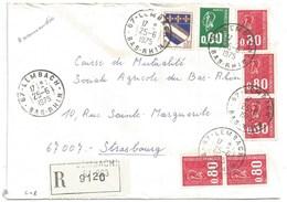 C48 - BAS RHIN - LEMBACH - 1975 - ROND Avec CODE POSTAL 67 - Recommandé - - 1961-....