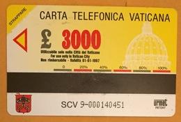 VATICAN SCV9 PRÉPAYÉE PHONECARD CARTE TÉLÉPHONIQUE À PISTE MAGNÉTIQUE PAS UNE TÉLÉCARTE - Vaticano