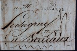 1801 CALENDRIER REPUBLICAIN 29 GERMINAL AN IX (19/04/1801)  LAC, TOULOUSE 30 MARQUE LINEAIRE, POUR BORDEAUX . - 1801-1848: Précurseurs XIX