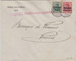 LP Belgien - Geprüft Postüberwachungsstelle Roter L1 Brief Spa - Verviers 1918 - Weltkrieg 1914-18