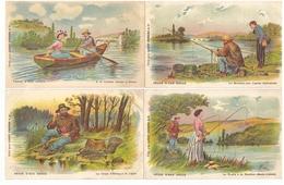 Peche En Eau Douce Lot De 12 Cartes Postales Pecheur à La Ligne Bateau Illustration Chromo Chocolat Louit - Fishing
