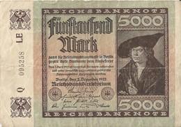 ALLEMAGNE - 5000 Mark - 2 Décembre 1922 (095258) - 5000 Mark