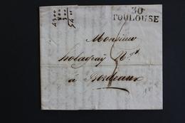 1813 LAC, TOULOUSE 30 MARQUE LINEAIRE, POUR BORDEAUX .TAXE MANUSCRITE4 DECIMES - 1801-1848: Précurseurs XIX