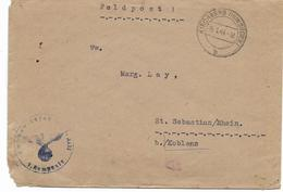 Ww2 - Cachet KIRCHBERG HUNSRUCK 15.1.44   FELDPOST   Sur Enveloppe Avec Cachet Aigle Allemand   Voir Scan - Militaria