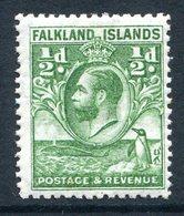 Falkland Islands 1929 KGV Whale & Penguins - ½d Green HM (SG 116) - Falklandeilanden