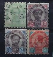 SIAM 1887 - 1904, Chulalongkorn 1 Er , 4 Timbres Yvert No 7, 12, 13 , 43, Obl BTB - Siam