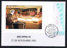 Atm, Lisa1, 2.40, Oiseaux TURQUOISE De Jubert, CARTE SOUVENIR, L'ANCRE, Salon, MECAPHIL 93, 27/28 NOVEMBRE 1993, NANTES. - 1990 «Oiseaux De Jubert»
