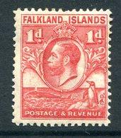 Falkland Islands 1929 KGV Whale & Penguins - 1d Scarlet HM (SG 117) - Falkland