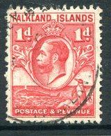 Falkland Islands 1929 KGV Whale & Penguins - 1d Scarlet Used (SG 117) - Falklandeilanden