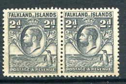 Falkland Islands 1929 KGV Whale & Penguins - 2d Grey Pair MNG (SG 118) - Falklandeilanden