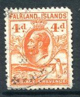 Falkland Islands 1929 KGV Whale & Penguins - 4d Orange Used (SG 120) - Falklandeilanden