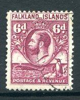 Falkland Islands 1929 KGV Whale & Penguins - 6d Purple Used (SG 121) - Falklandeilanden