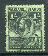 Falkland Islands 1929 KGV Whale & Penguins - 1/- Black On Emerald Used (SG 122) - Falklandeilanden