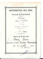 ANTONY Distribution Prix 1933 - Antony