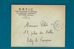Cachet Port Payé St Dizier 1959 Sur Enveloppe E.S.T.I.C Saint Dizier - Marcophilie (Lettres)