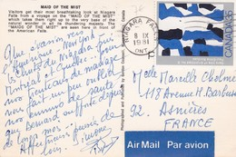 """CANADA 35 Cts  Tableau """"Sans Titte """"N° 6 De Paul-Emile Borduas S/ Cpm 9x14  Bateau """"Maid Of The Mist"""" - Oblitérés"""