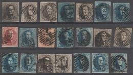 Lotje Medaillions 21 Stuks ,alle Ingesneden Oblit/gestp - 1849-1865 Medallions (Other)