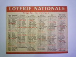 """2020 -  5514  Petit CALENDRIER  PUB  """"LOTERIE NATIONALE """"  1954   XXX - Calendriers"""