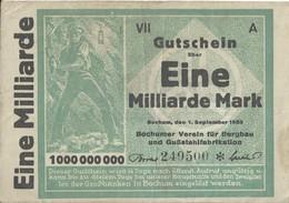 ALLEMAGNE - Eine Milliarde Mark - 1 September 1923 (249500) - [ 3] 1918-1933 : Repubblica  Di Weimar