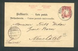 Entier Postal De Rothenburg Pour Neuchatel ( Suisse )  8 Février 1894 - Stamped Stationery