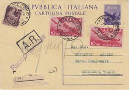 Intero Postale L. 8 + L. 2 Democratica  + L. 10 P.A. X 2 Raccomandata AR - 1900-44 Vittorio Emanuele III