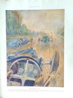"""Geo Ham """"Une Course Sur Route- Bugatti"""", Dim. 30 X 40cm. 1928 - Vieux Papiers"""