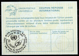 UNITED NATIONS VIENNA 40 Jahre Postverwaltung Der UN Int. Reply Coupon Reponse IRC IAS Antwortschein La25 o24.10.91 - Centre International De Vienne