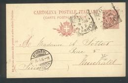 Entier Postal De Roma Ferrovia  Pour Neuchatel ( Suisse )  1895 - Stamped Stationery