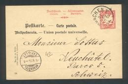 Entier Postal De Munchen Pour Neuchatel ( Suisse) 31 Mai 1894 - Stamped Stationery