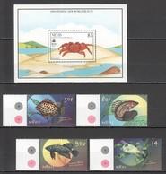 G1081 NEVIS FAUNA MARINE LIFE CRABS DISCOVERING NEW WORLD BEAUTY TROPICAL FISH 1SET+1BL MNH - Vita Acquatica