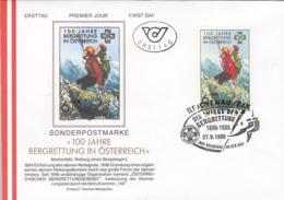 JOBS, LIFEGUARD, MOUNTAIN RESCUE, CLIMBING, COVER FDC, 1996, AUSTRIA - Profesiones