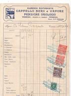 193? / FACTURE / VENEZIA / ALBERGO RISTORANTE CAPELLO NERO E VAPORE / 3 STAMPE COMUNE VENEZIA I MARCA DA BOLLO 10 - Italy