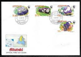 Aitutaki - 2002 WWF Blue Lorikeet Set On Illustrated FDC - Aitutaki