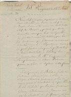 """Document Manuscrit 23ième Régiment De Ch. à Cheval (Chef D'escadron Guiton, Bruxelles) : """"Nous Chef D'escadron, Capitain - 1794-1814 (Periodo Frances)"""