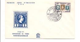 MONACO FDC 1960 75 ANS DU 1 ER TIMBRE - FDC