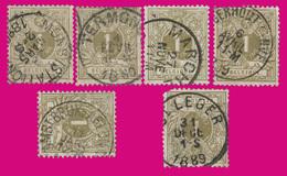6 COB N° 42 - 1c RéSéDA - Belles Oblitérations - 1884-1891 Leopold II.