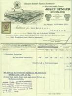 """Österreich St. Pölten 1929 Rechnung Besonders Deko + Fiskalmarke """" JOSEF BENKER Stearin-Kerzen-Kerzen-Fett-Soda-Fabrik """" - Autriche"""