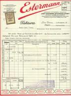 """Österreich Linz 1929 Rechnung Deko + Fiskalmarke """" JOSEF ESTERMANN AG Vereinigte Fettwaren """" - Autriche"""