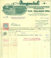 """Österreich Wien 1929 Rechnung Besonders Deko + Eingedruckte Fiskalmarke """" KARL KUHLEMANN Imperial-Feigenkaffee """" - Austria"""
