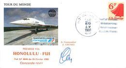 Enveloppe Premier Vol HONOLULU - FIJI - CONCORDE FBVFF Vol AF 4646 - 1988 Signée Commandant CHEMEL - Concorde