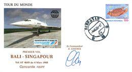 Enveloppe Premier Vol BALI - SINGAPOUR - CONCORDE FBVFF Vol AF 4649 - 1988 Signée Commandant CHEMEL - Concorde
