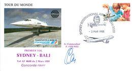 Enveloppe Premier Vol SYDNEY - BALI - CONCORDE FBVFF Vol AF 4648 - 1988 Signée Commandant CHEMEL - Concorde