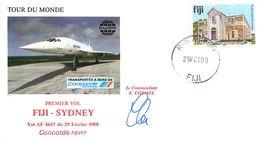 Enveloppe Premier Vol FIJI - SYDNEY - CONCORDE FBVFF Vol AF 4647 - 1988 Signée Commandant CHEMEL - Concorde