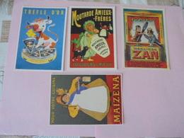 4 CARTES POSTALES PUBLICITAIRES - Publicité