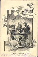 Artiste Cp Glückwunsch Neujahr, Engel, Schweine, Bowleschüssel, Sektflaschen - New Year