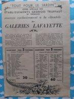 DEPLIANT PUBLICITAIRE POUR  LES GRAINES GEORGES TRUFFAUT POUR LES GALERIES LAFAYETTE 1936 - Publicités